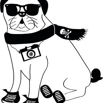 Hipster Pug - Cute Dog Cartoon Character - Puggle by designedbyn
