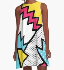 ZigZag 80s Memphis Pattern  A-Line Dress
