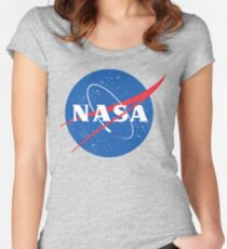 NASA Logo - Meatball - Vintage Distressed Fitted Scoop T-Shirt