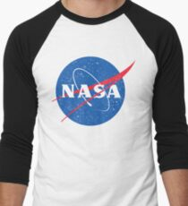 NASA Logo - Meatball - Vintage Distressed Men's Baseball ¾ T-Shirt