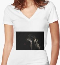 The Blood Moon And The Boab Tree Women's Fitted V-Neck T-Shirt