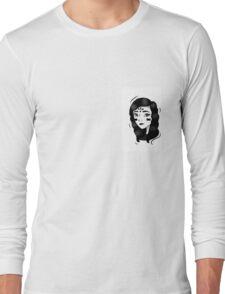 Minimalism - Black And White Girl  Long Sleeve T-Shirt
