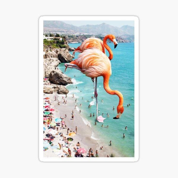 Flamingos on the Beach #redbubble #decor Sticker