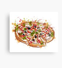 Italian pizza with splashes in watercolor style. Metal Print