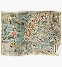 Carta Marina, map of Scandinavia by Olaus Magnus - 1539 Poster
