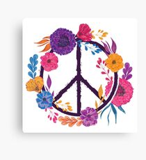 Hippie peace symbol with flowers, leaves and buds Canvas Print