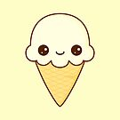Kawaii Happy vanilla Ice cream cone by TriBrush