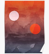 Star Wars A New Hope inspired artwork two suns Poster