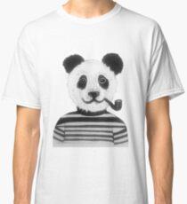 Cool Hipster Panda Bear Smoking Pipe  Classic T-Shirt