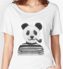 Cool Hipster Panda Bear Smoking Pipe  Women's Relaxed Fit T-Shirt