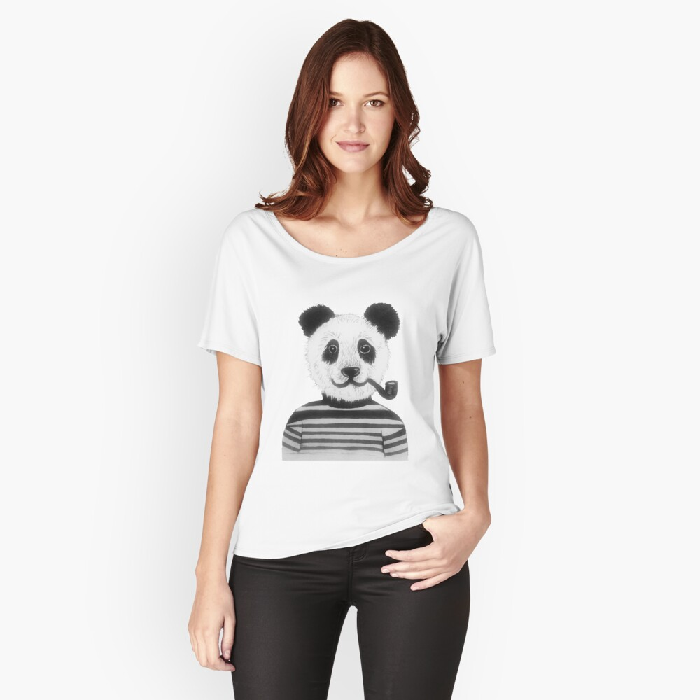 Cool Hipster Panda Bear Smoking Pipe  Women's Relaxed Fit T-Shirt Front
