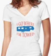I Go Where I'm Towed - Fifth Wheel - Red, White & Blue Women's Fitted V-Neck T-Shirt