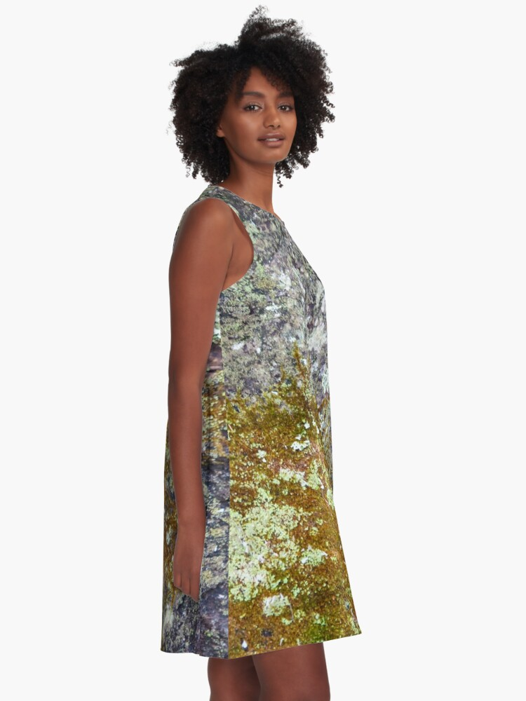 Alternate view of Lichen and moss on fallen tree  A-Line Dress