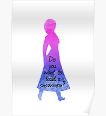 Do you want to build a snowman - Princess Inspired Silhouette Poster