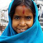 Nepali girl wear a blue shawl by jihyelee
