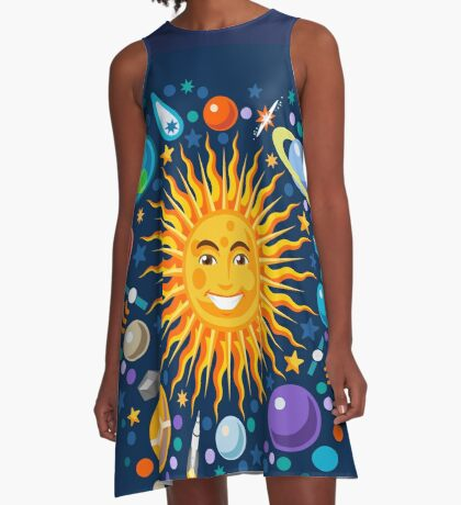 Funny Solar System Isometric A-Line Dress