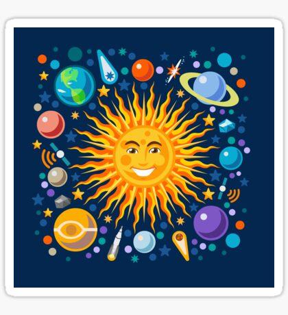 Funny Solar System Isometric Sticker