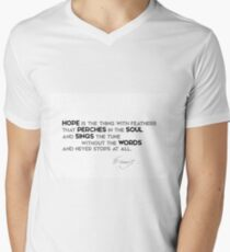 hope perches the soul, sings without words - emily dickinson Men's V-Neck T-Shirt