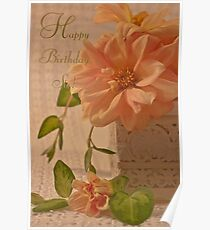 Happy Birthday Sis Card - Dahlias Poster