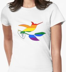 Rainbow Hummingbird Womens Fitted T-Shirt