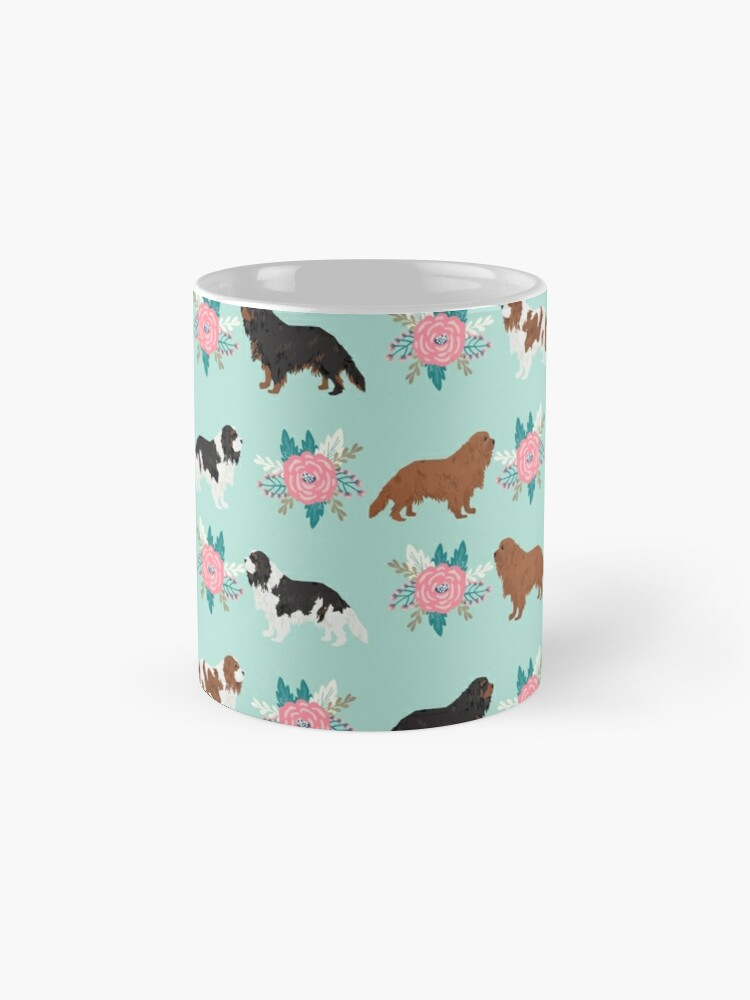 Alternate view of Cavalier King Charles Spaniel floral bouquet cute gift for dog lover dog breed pet portrait Mugs