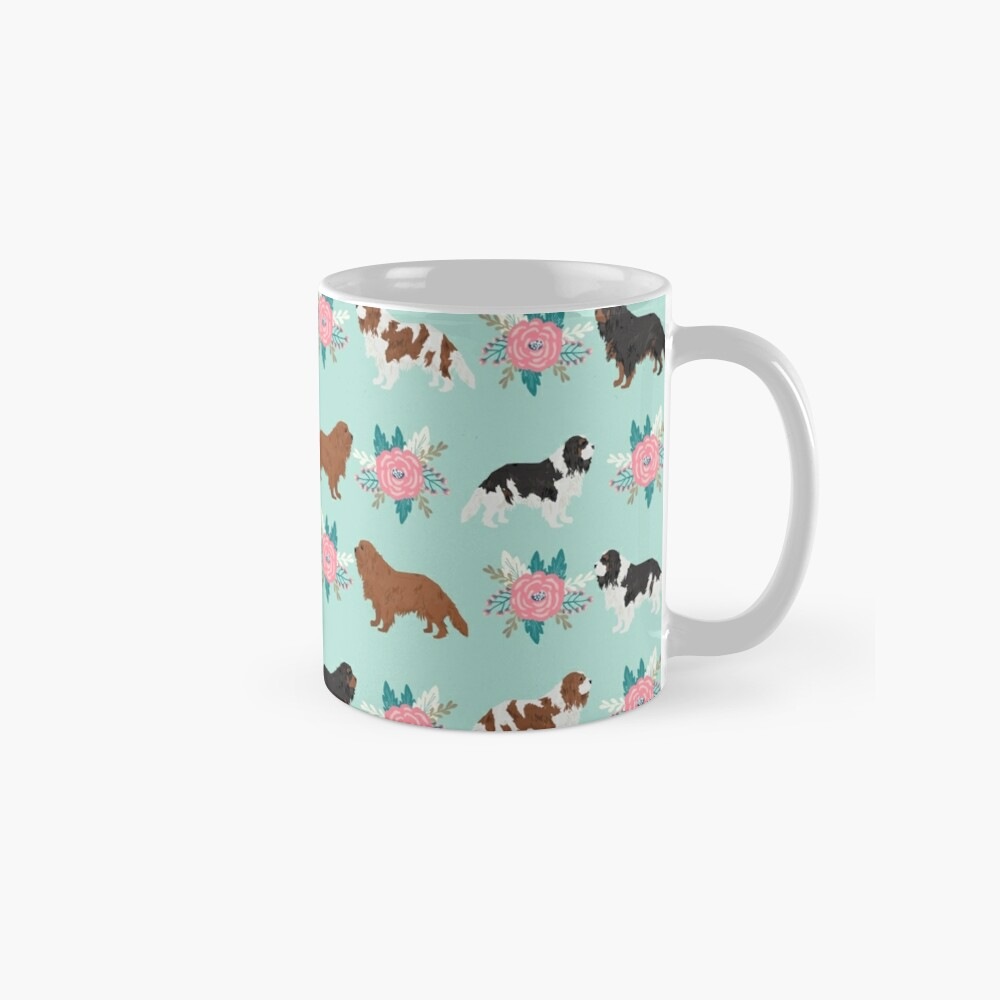 Cavalier King Charles Spaniel floral bouquet cute gift for dog lover dog breed pet portrait Mugs