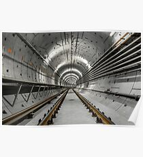Deep metro tunnel under construction Poster