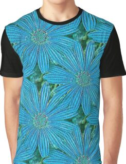 Turquoise Blue Daisy Flowers Graphic T-Shirt