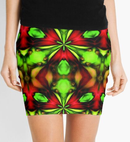 Loud Abstract Green And Red Design Mini Skirt