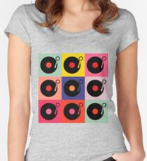 Vinyl Record Pop Collage Women's Fitted Scoop T-Shirt