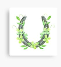 Lucky Horseshoe and Clover Canvas Print