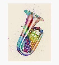 Tuba Abstract Watercolor Photographic Print
