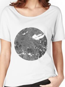 Grunge Black and white marble texture. Women's Relaxed Fit T-Shirt