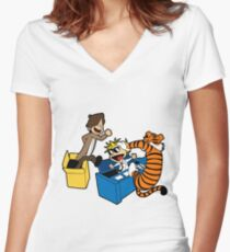 Doctor Who and Hobbes Women's Fitted V-Neck T-Shirt