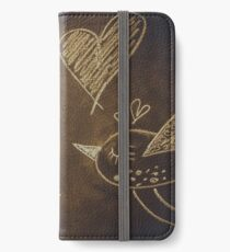 Hand drawing with chalk on blackboard, cute kawaii birds, heart and word love, Valentine iPhone Wallet/Case/Skin