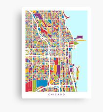 Chicago City Street Map Canvas Print