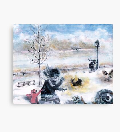 Snowdown in Quebec. Drama under foot. Canvas Print