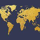 World Map Gold Foil by Michael Tompsett