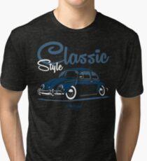 Classic Style. Beetle (blue) Tri-blend T-Shirt
