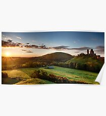 Beautiful sunrise panoramic over Corfe Castle Poster