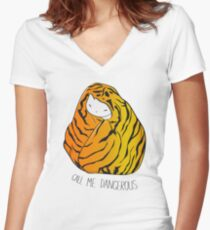 Call Me Dangerous Tiger Cat Women's Fitted V-Neck T-Shirt
