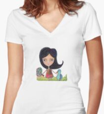 Girl and a Bluebird Painting Women's Fitted V-Neck T-Shirt