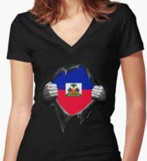 Haiti Flag. Proud Haitian Women's Fitted V-Neck T-Shirt