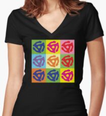 Pop Art Vinyl Record 45 Holder Women's Fitted V-Neck T-Shirt
