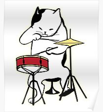 Cat Playing Drums | Funny Drummers Shirt Poster