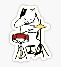 Cat Playing Drums | Funny Drummers Shirt Sticker