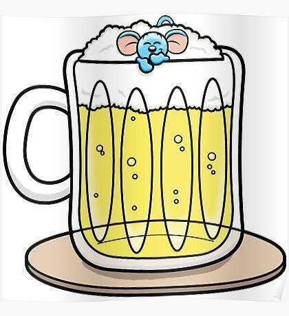 HeinyR- Blue Mouse Drunk Poster