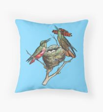 Hummingbirds on Nest  Throw Pillow