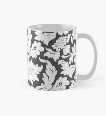 Floral Monochrome Relief Black Mug