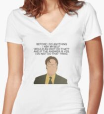 Dwight Idiot The Office Quotes Women's Fitted V-Neck T-Shirt
